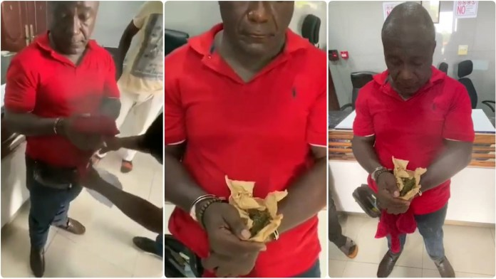 Hot Video of Pastor Kwabena Owusu Agyei arrested with weed in his purse [video]