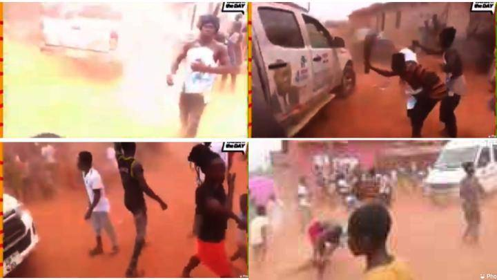 NPP Campaign Team Chased Away With Brooms (Video)
