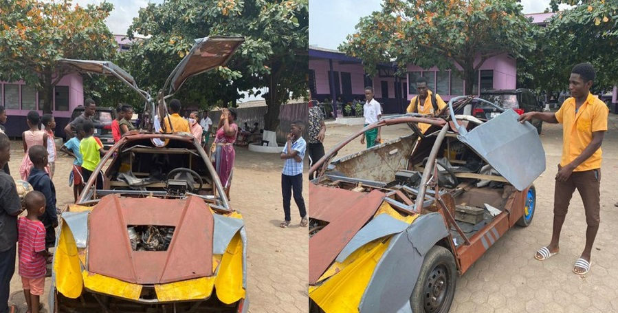 18-year-old JHS graduate builds his own Bugatti-like car -Watch Videos