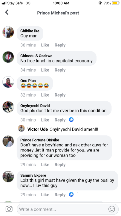 """As A Man, Please Stop Sleeping With Girls When Helping Them Financially"". (Screenshot)"