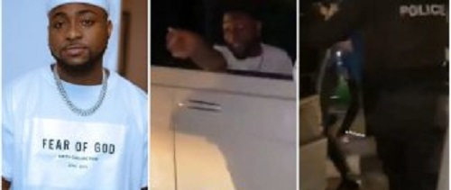 Watch the moment Davido stops policemen from searching a young man [video]