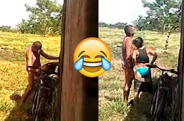 Old Man C@ught On Camera Fv.ck!ng Girlfriend Behind Her House [WATCH]