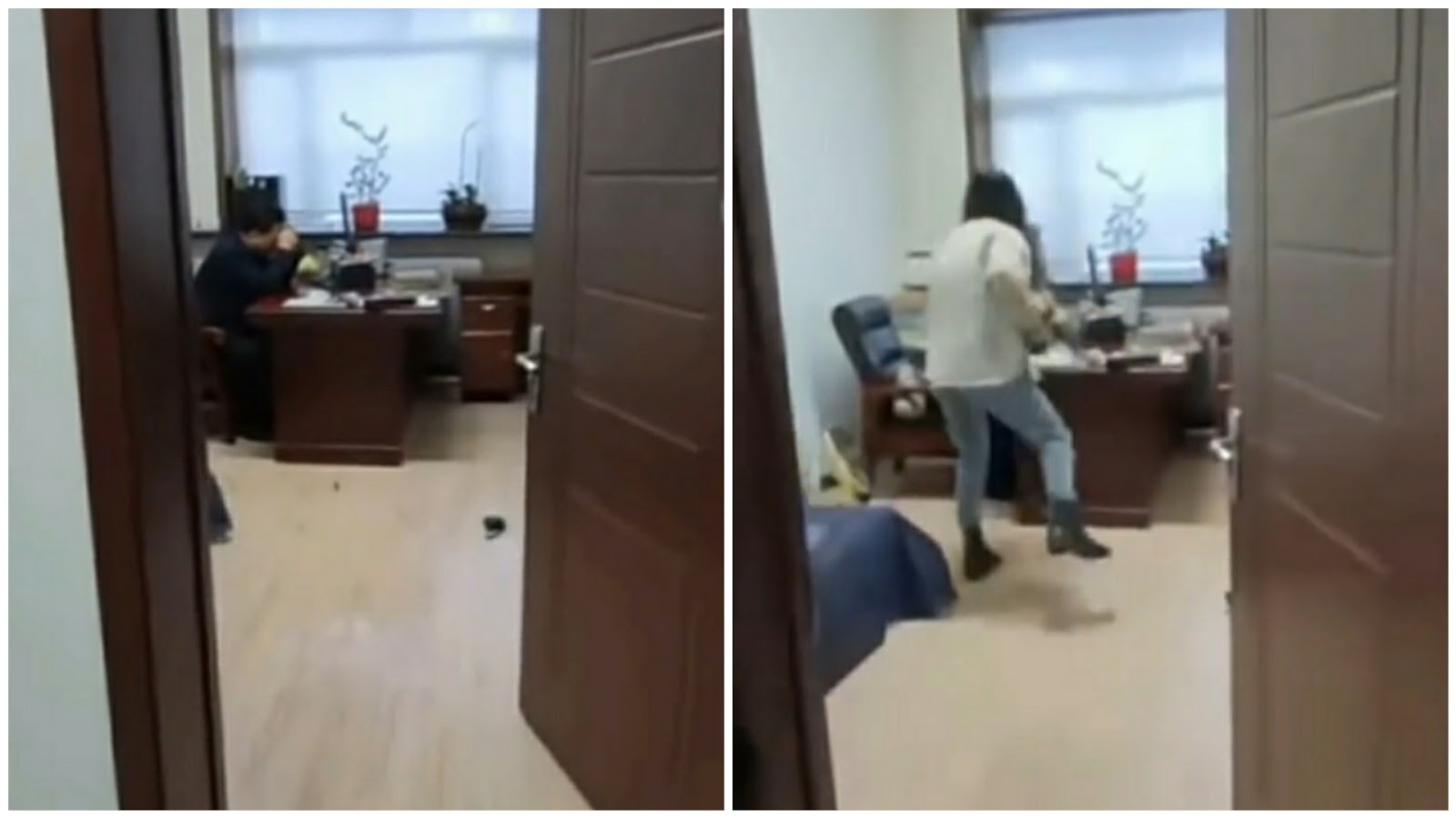 Woman Beats Up Her Boss With A Mop Stick For Sending Her Inappropriate $£x Texts (+Video)