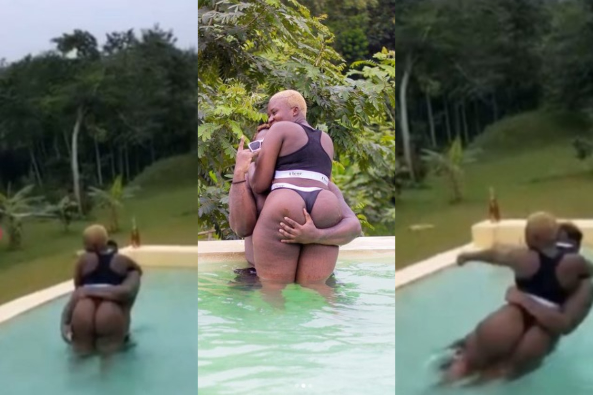 Medikal, Carries Fella Makafui Full Products While Swimming Together On His Birthday (+Video)