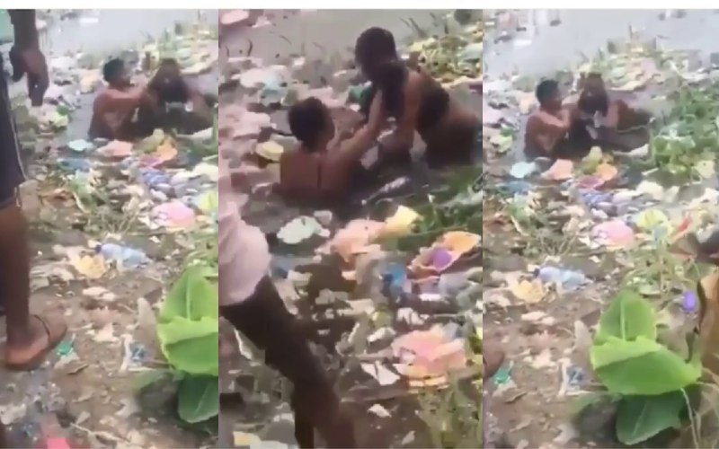 Two Ladies Were Caught Fighting In Dirty Water Over Yahoo Boy (+Video)
