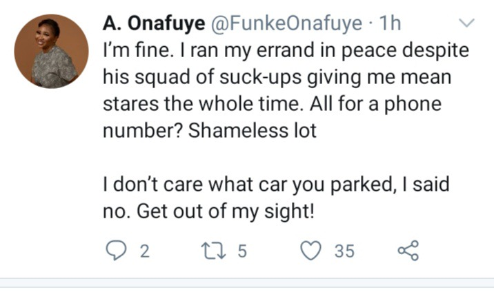 After This Pretty Lady Refused To Give A Man With A Car And Guards Her Number, See What The Man Did