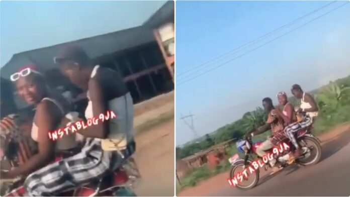 Slay Queen Spotted On A Motorbike Enjoying 'Eba And Stew' (+Video)