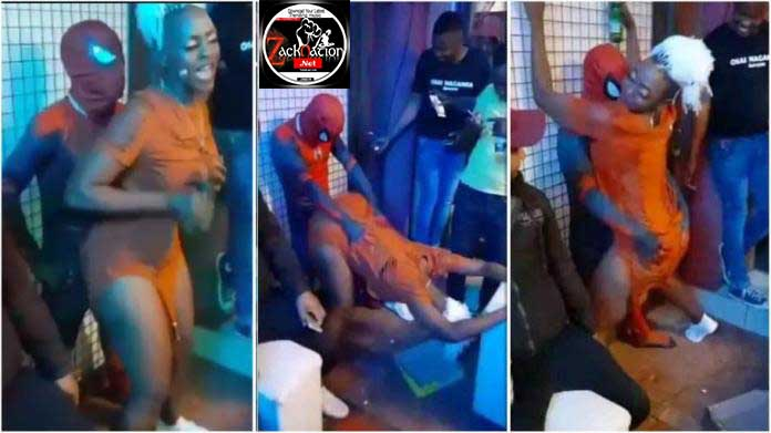 African Spider-Man Spotted At A Club With A Lady Giving Free Show (Watch Video)