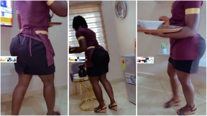 Heavy tundra waitress who served him in a hotel leaves a male customer salivating [Watch]