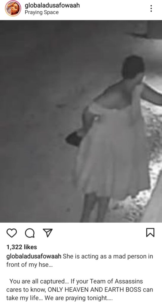 Rare footage of alleged mad woman patrolling in front of Adu Sarfowaa's apartment after beef with some celebs hit online [WATCH]