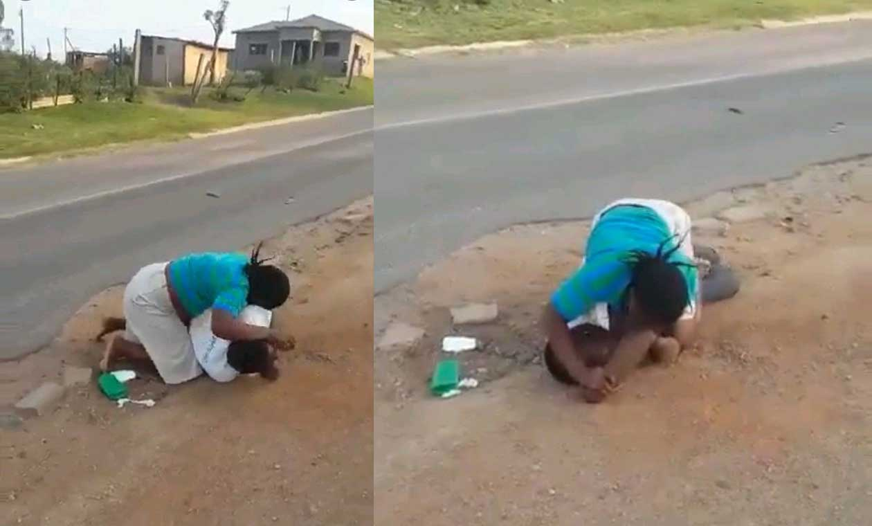 Lady Beats Her Husband Up In The Street [WATCH VIDEO]