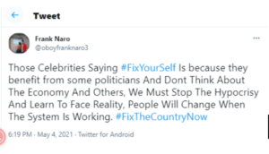 All The Celebrities Against #Fixthecountry Campaign Are Benefiting From The Government-Frank Naro Drops Secret