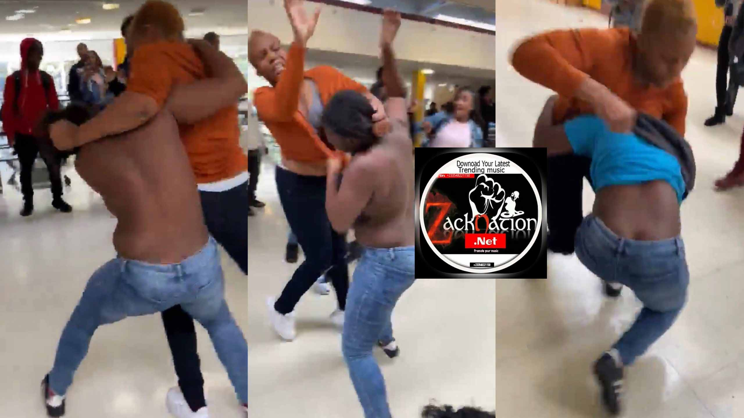 Here Is The Trending Video Of Two Ladies Fighting Over A Man At The Mall