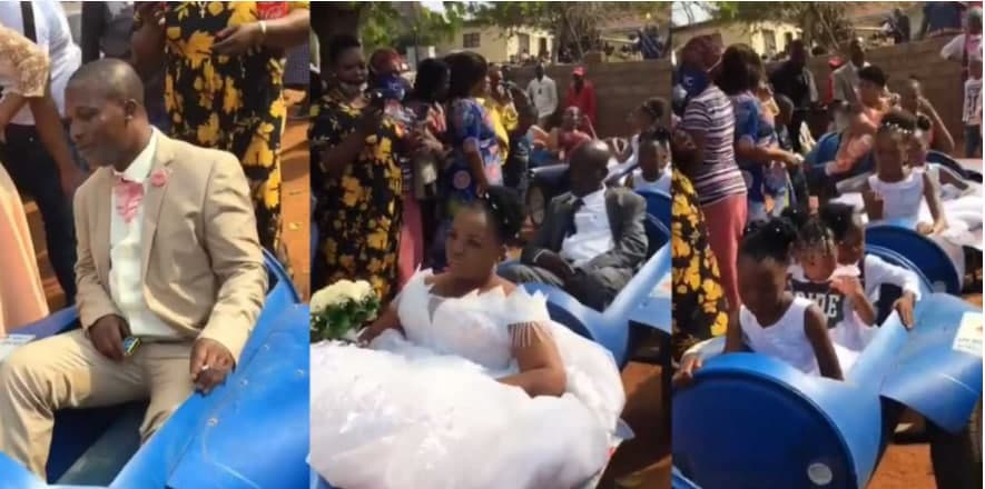 Bride And Groom Use Plastic Barrels As Their Wedding Car Since They Couldn't Afford Real Cars [Watch Now]