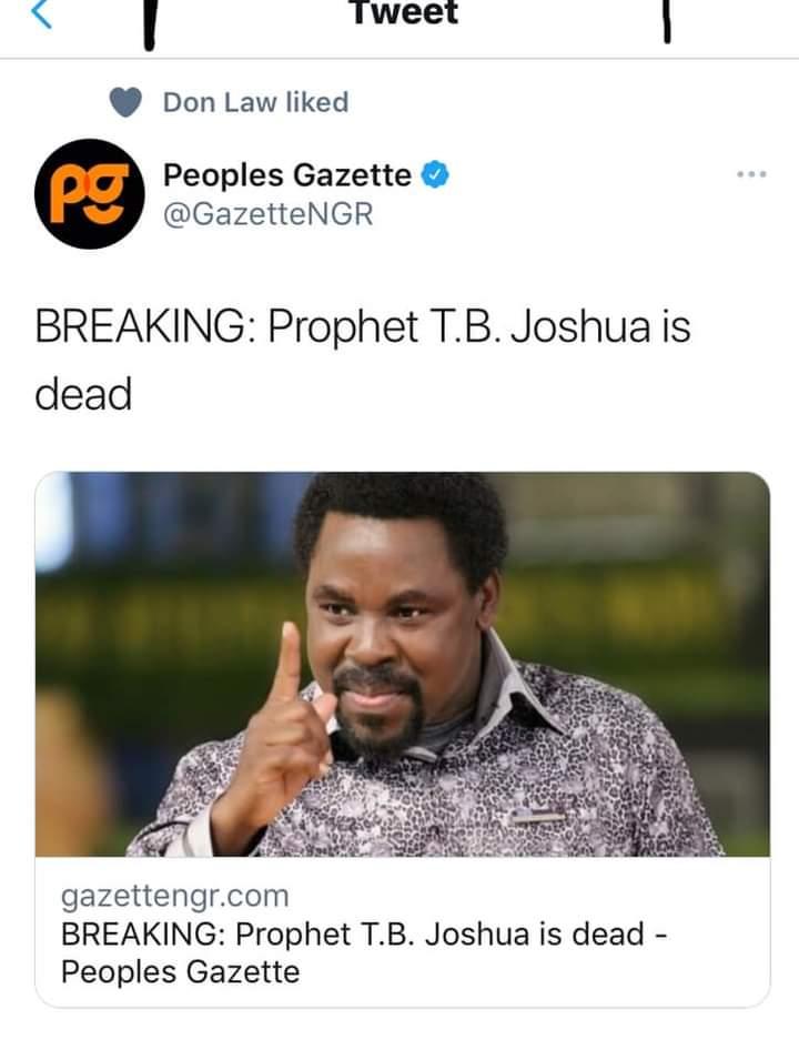 BREAKING NEWS: Prophet T.B. Joshua Is Dead