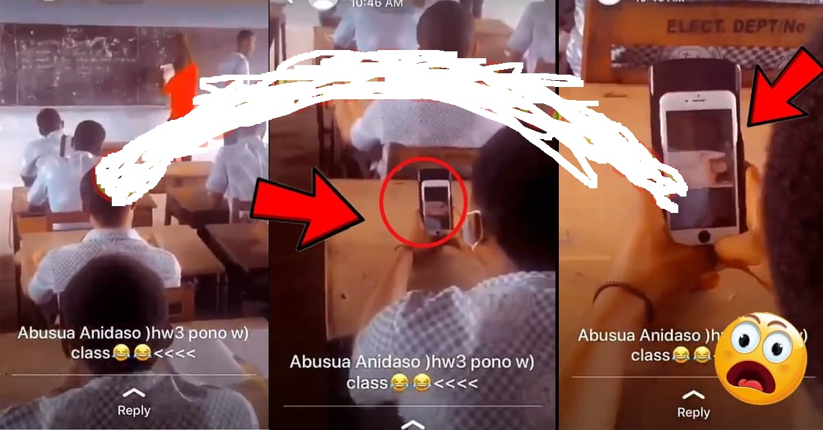 Yawa…SHS Student C@ught On C@mera Watching Porn In The Classroom With No Sh@me [WATCH VIDEO]