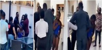 Angry-wife-disciplines-husbands-side-chick-after-catching-them-in-a-hotel